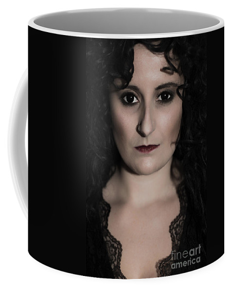 Gothic Coffee Mug featuring the photograph Woman In Black by Amanda Elwell