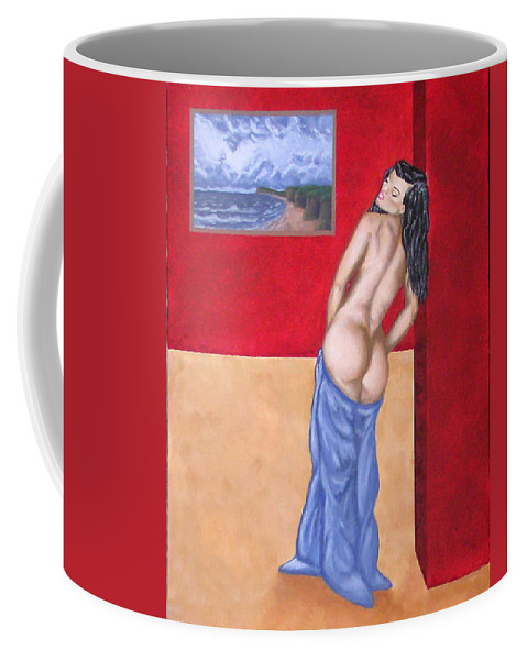 Nude Coffee Mug featuring the painting Woman In Blue Robe by Adam Johnson