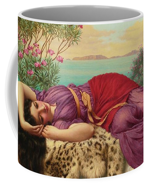 John William Godward British 1861-1922 Clymene Relaxation 2 Coffee Mug featuring the painting Woman by John William