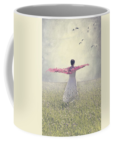 Female Coffee Mug featuring the photograph Woman On A Lawn by Joana Kruse