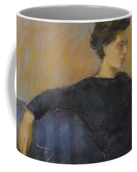 Portrait Coffee Mug featuring the pastel Woman On Couch by Charles Vernon Moran