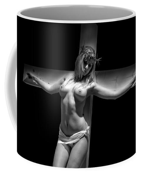 Glamour Coffee Mug featuring the photograph Woman On Cross by Ramon Martinez