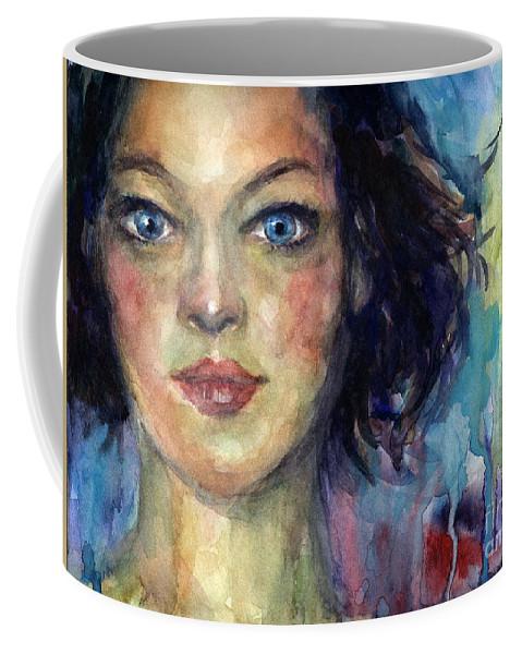 Watercolor Painting Coffee Mug featuring the painting Woman Portrait 2 by Svetlana Novikova