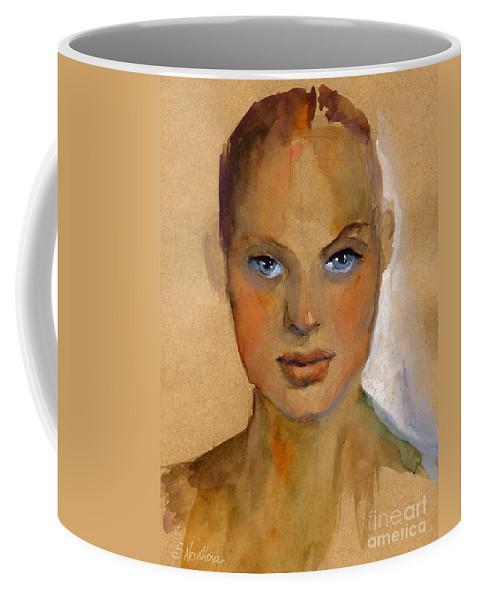 Portrait Coffee Mug featuring the painting Woman Portrait Sketch by Svetlana Novikova
