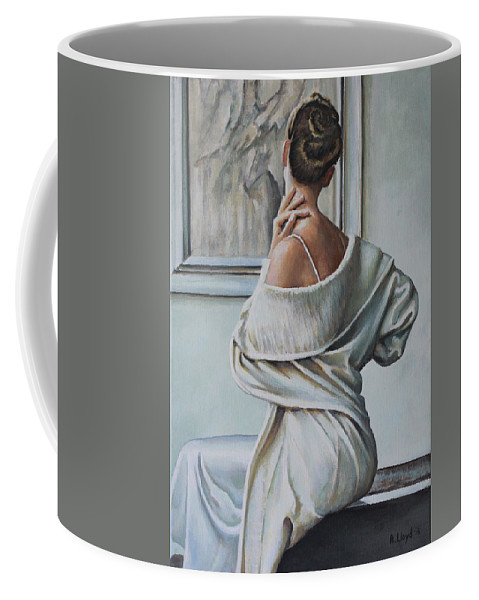 Woman Sat Gallery Roberta Chriko Coffee Mug featuring the painting Woman Sat In A Gallery by Andy Lloyd