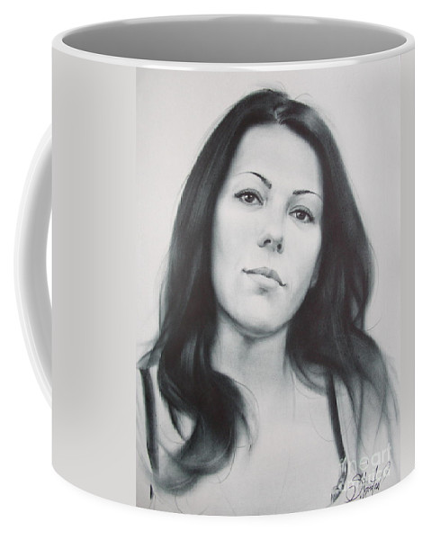 Art Coffee Mug featuring the drawing Woman by Sergey Ignatenko