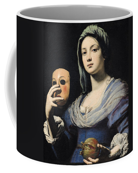 Woman Coffee Mug featuring the painting Woman With A Mask by Lorenzo Lippi