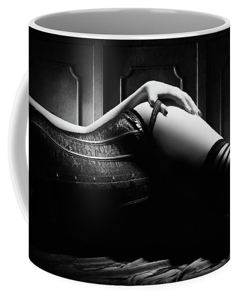 Woman Coffee Mug featuring the photograph Woman With Black Corset by Johan Swanepoel
