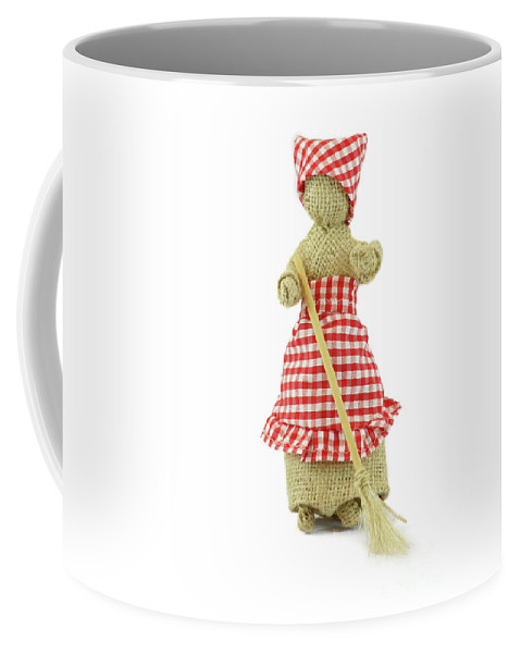Doll Coffee Mug featuring the photograph Woman With Broom In Her Hands by Daniel Ghioldi