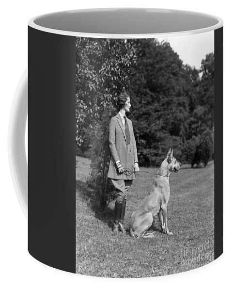 1920s Coffee Mug featuring the photograph Woman With Great Dane, C.1920-30s by H. Armstrong Roberts/ClassicStock