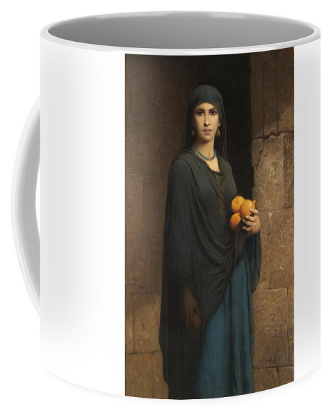 Charles Landelle 1812-1908 French Woman With Oranges Coffee Mug featuring the digital art Woman With Oranges by Mark Carlson