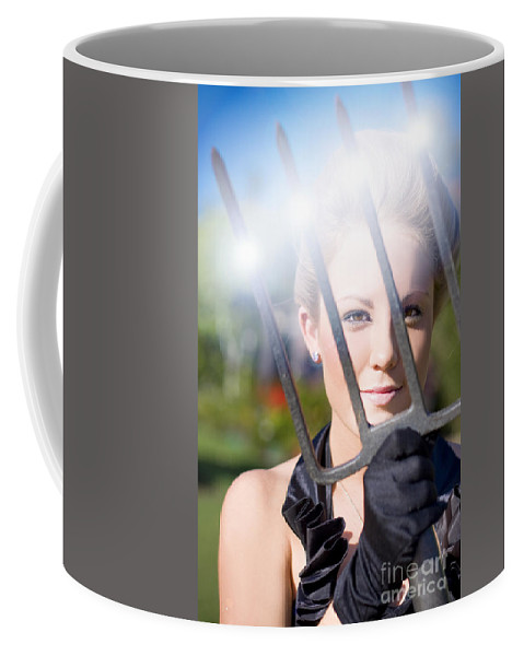 Adult Coffee Mug featuring the photograph Woman With Pitchfork by Jorgo Photography - Wall Art Gallery