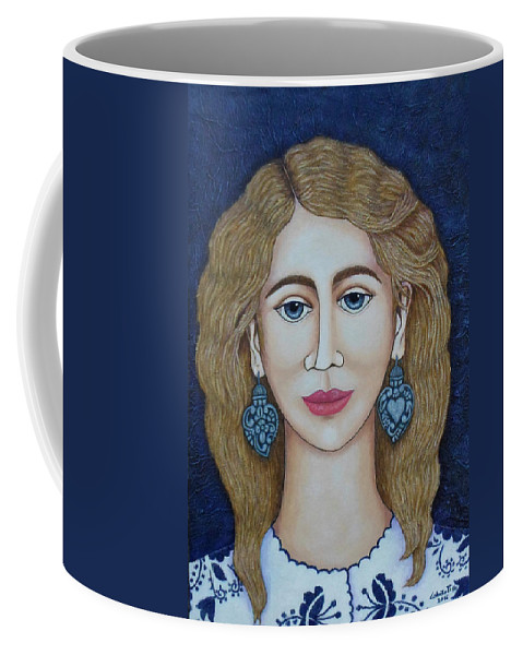 Woman Coffee Mug featuring the painting Woman With Silver Earrings by Madalena Lobao-Tello