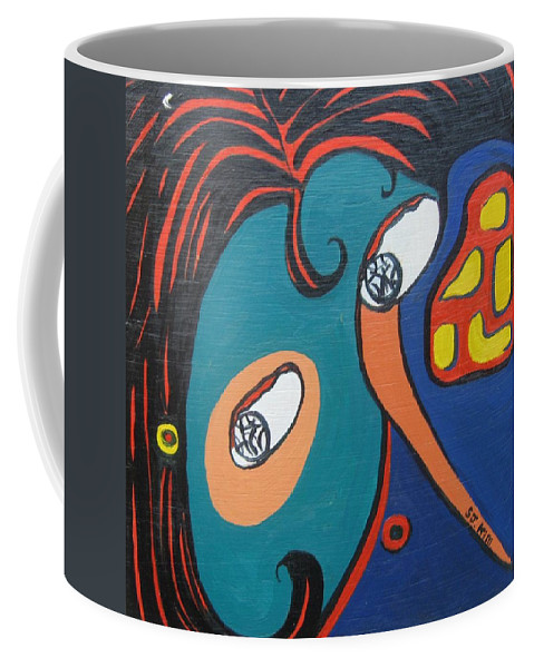 Abstract Paintings Coffee Mug featuring the painting Woman12 by Seon-Jeong Kim