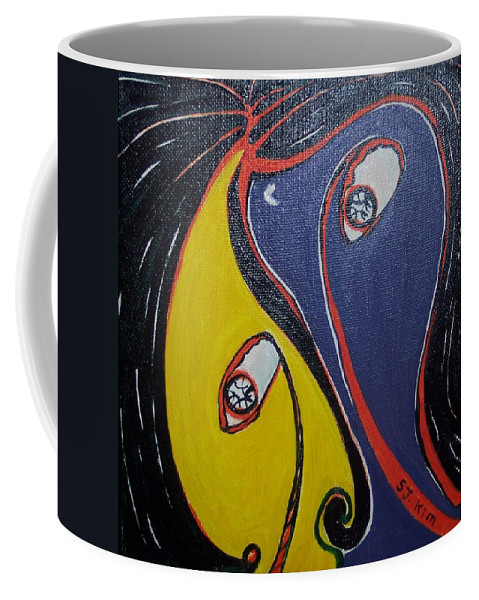 Yellow Paintings Coffee Mug featuring the painting Woman21 by Seon-Jeong Kim