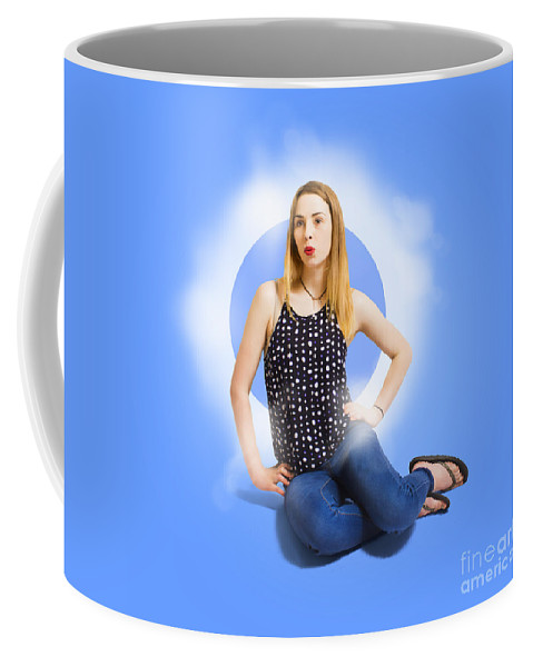 Beauty Coffee Mug featuring the photograph Womens Fashion Pinup Model On Blue Studio Lights by Jorgo Photography - Wall Art Gallery