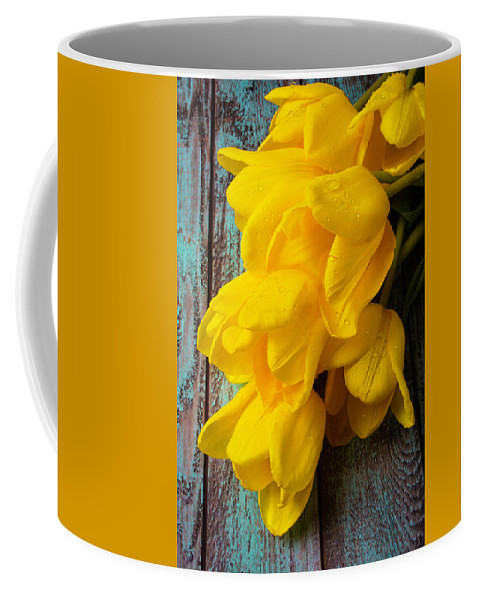 Yellow Coffee Mug featuring the photograph Wonderful Yellow Tulips With Dew by Garry Gay