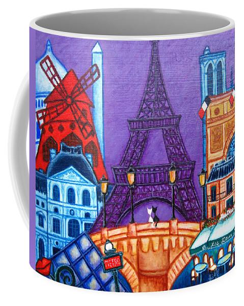 Paris Coffee Mug featuring the painting Wonders of Paris by Lisa Lorenz