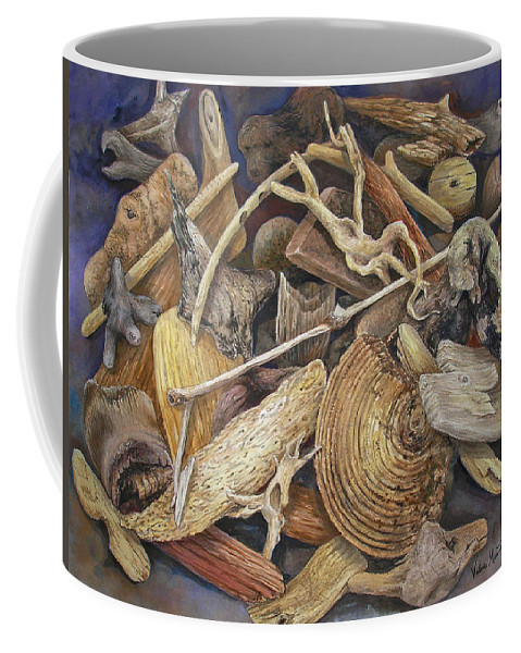 Driftwood Coffee Mug featuring the painting Wood Creatures by Valerie Meotti