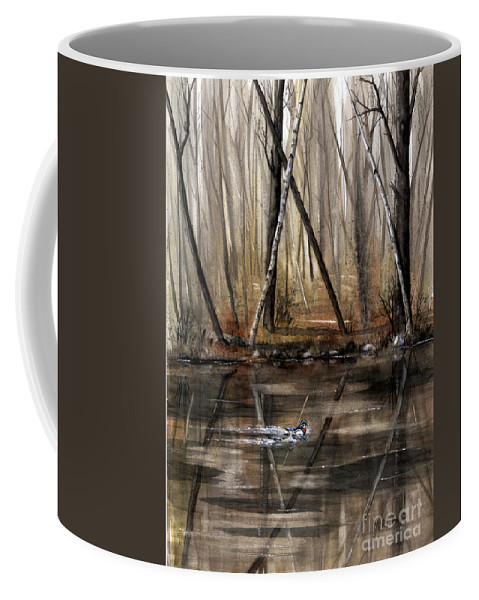 Nature Coffee Mug featuring the painting Wood Duck On Pond by Mary Tuomi