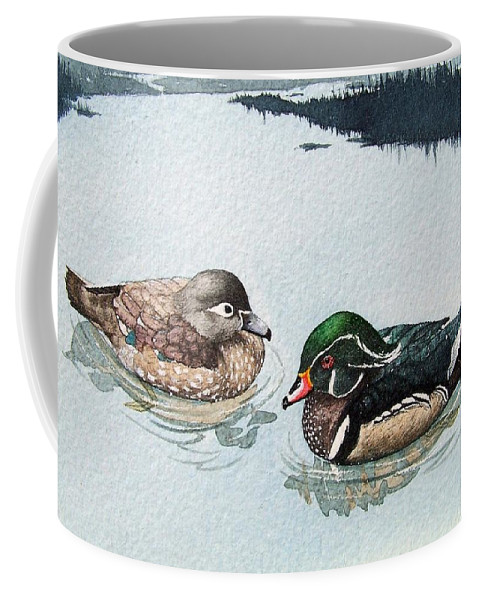 Ducks Coffee Mug featuring the painting Wood Ducks by Gale Cochran-Smith