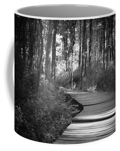 Black And White Coffee Mug featuring the photograph Wooded Walk by Scott Wyatt