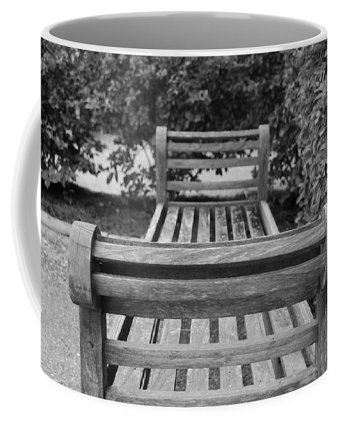 Bushes Coffee Mug featuring the photograph Wooden Bench by Rob Hans