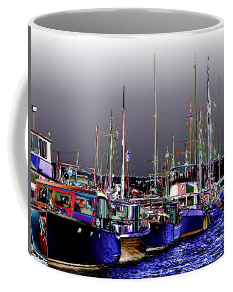 Seattle Coffee Mug featuring the digital art Wooden Boats 2 by Tim Allen