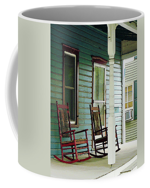 Porch Coffee Mug featuring the photograph Wooden Rocking Chairs On Porch by Susan Savad