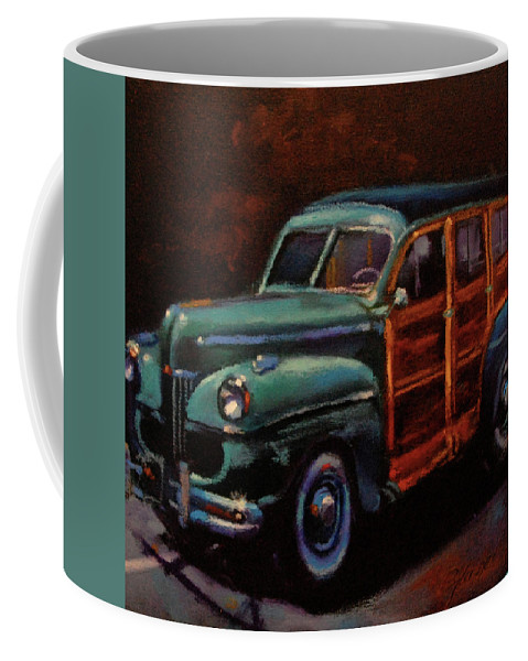 Classic Car Coffee Mug featuring the painting Woodie by BJ Lane