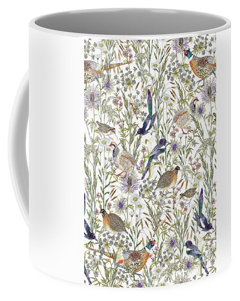 Grouse Coffee Mug featuring the digital art Woodland Edge Birds by Jacqueline Colley