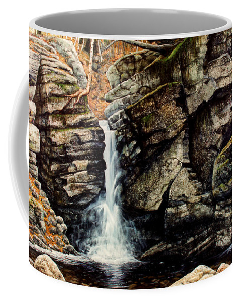 Waterfall Coffee Mug featuring the painting Woodland Falls by Frank Wilson