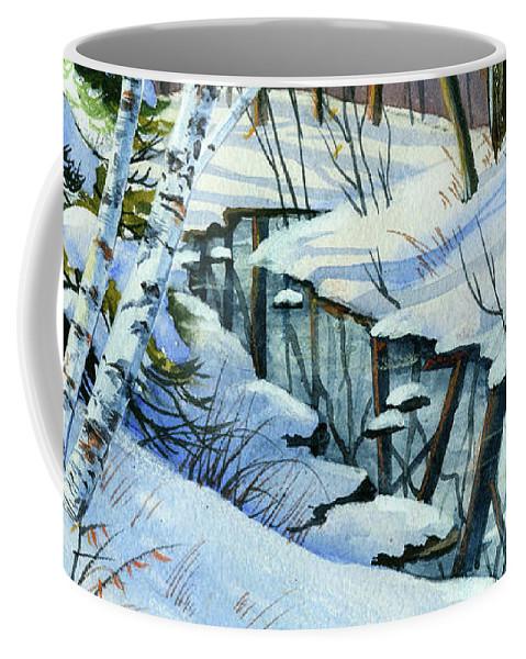 Winter Coffee Mug featuring the painting Woodland Stream by Cheryl Johnson