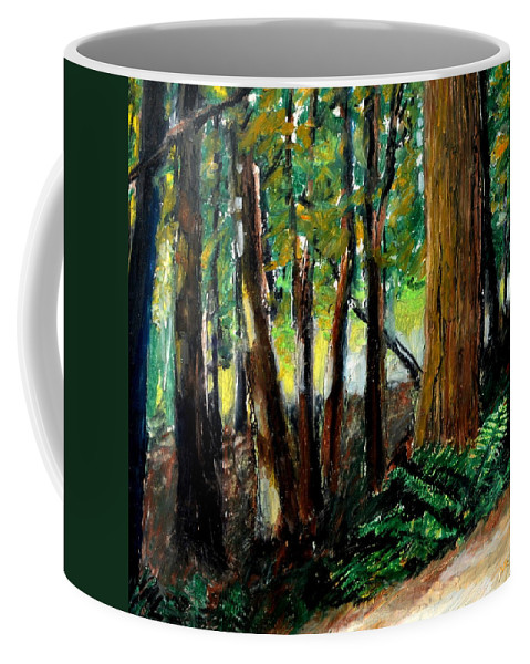 Livingston Trail Coffee Mug featuring the drawing Woodland Trail by Michelle Calkins