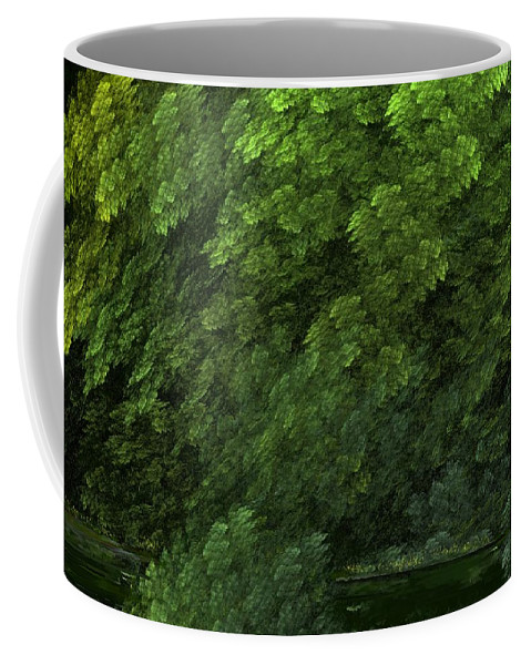 Digital Painting Coffee Mug featuring the digital art Woods And Stream by David Lane