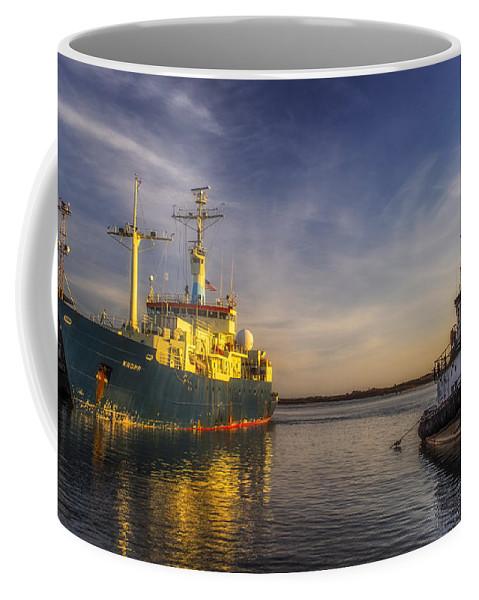 Landscape Coffee Mug featuring the photograph Woods Hole Ship Yard by Mark Papke