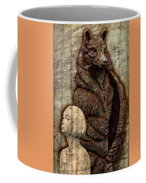 Conceptional Coffee Mug featuring the digital art Woof And The Girl by Ian Gledhill