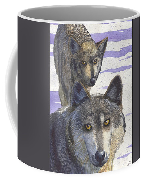 Wolf Coffee Mug featuring the painting Woofies by Catherine G McElroy