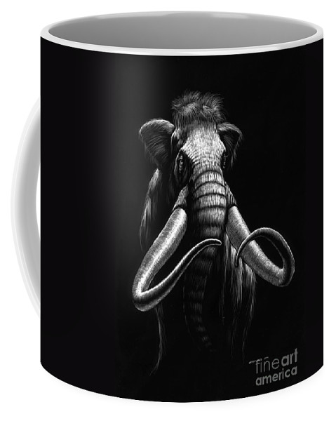 Wildlife Coffee Mug featuring the drawing Woolly Mammoth by Stanley Morrison