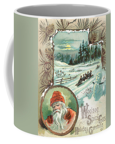 19th Century Coffee Mug featuring the painting Woolson Spice Company Christmas Card by John Henry Bufford