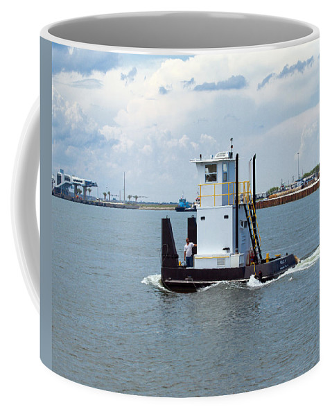 Florida; Tug; Tugboat; Boat; Work; Workboat; Pusher; Push; Barge; Barges; Working; Float; Floating; Coffee Mug featuring the photograph Workboat At Port Canaveral In Florida by Allan Hughes
