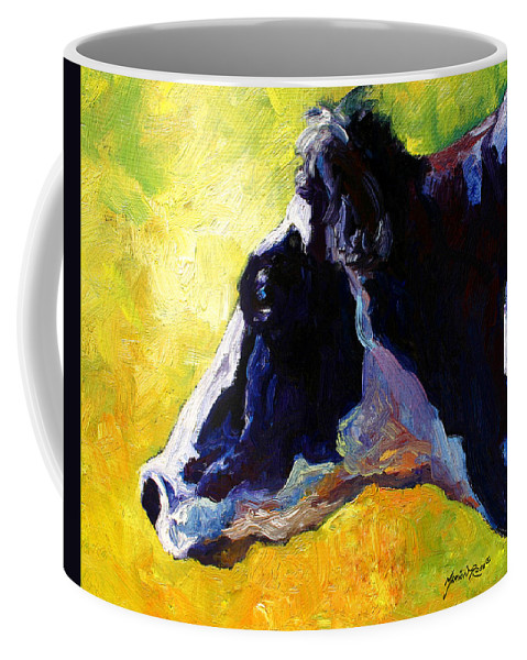 Western Coffee Mug featuring the painting Working Girl - Holstein Cow by Marion Rose