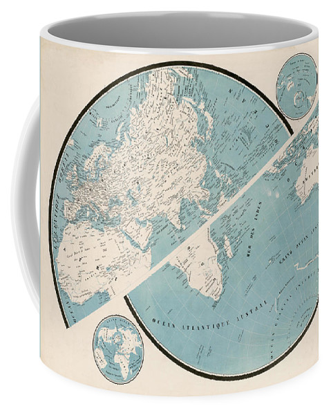 Coffee Mug featuring the mixed media World Map - 1857 by Art Makes Happy