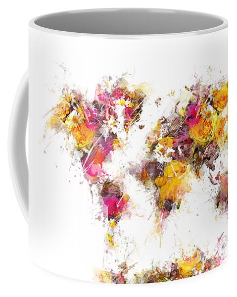 World Map Coffee Mug featuring the digital art World Map 2033 by Justyna JBJart