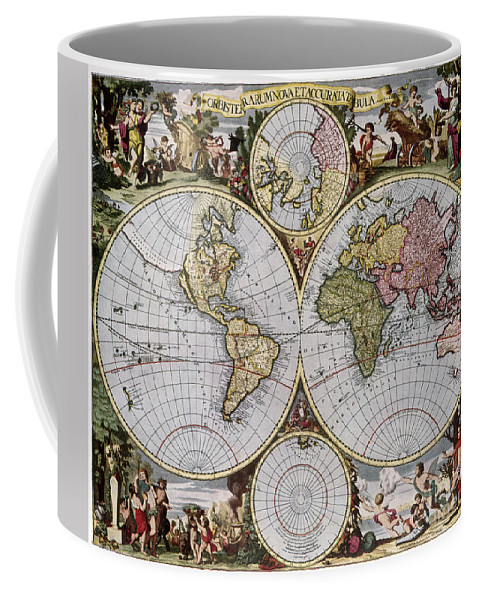 1690 Coffee Mug featuring the photograph World Map, C1690 by Granger