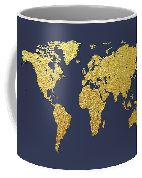 World Map Gold Foil Coffee Mug For Sale By Michael Tompsett