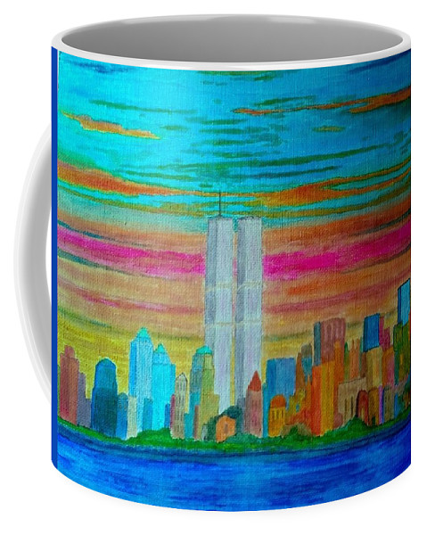 World Trade Center Coffee Mug featuring the painting World Trade Center by John Cunnane