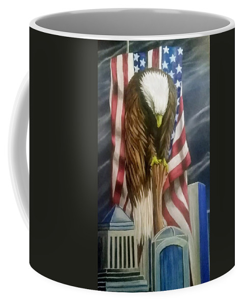 Coffee Mug featuring the painting World Trade Towers by Martin Crouch