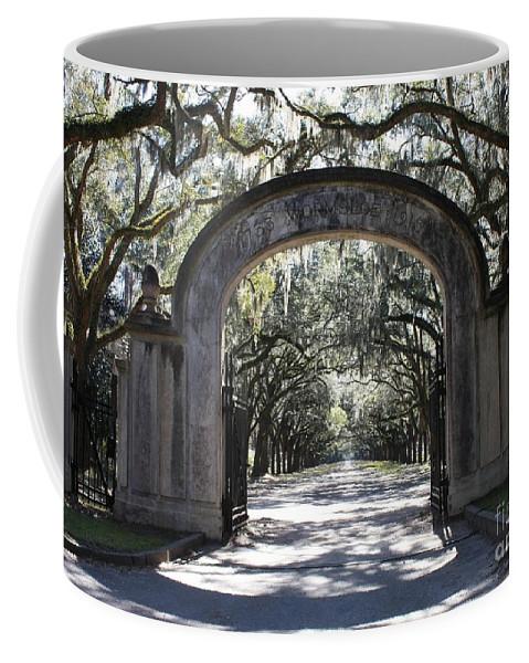 Gate Coffee Mug featuring the photograph Wormsloe Plantation Gate by Carol Groenen