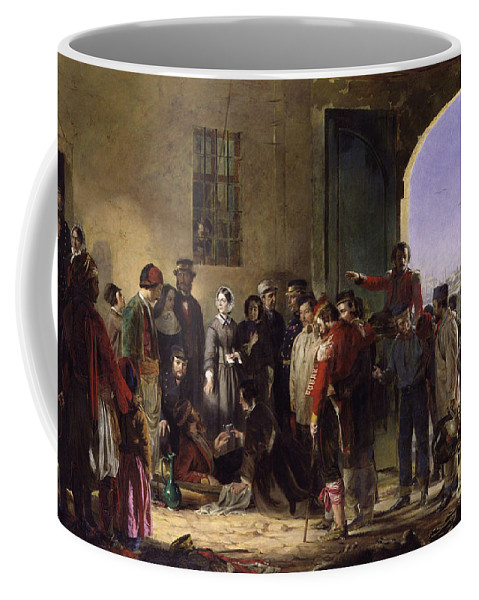 Nightingale Receiving The Wounded At Scutari A Portrait By Jerry Barrett Coffee Mug featuring the painting Wounded At Scutari A Portrait By Jerry Barrett by MotionAge Designs